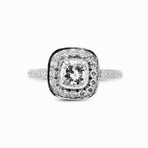 Cushion Cut Diamond Cluster Ring - 0.85ct